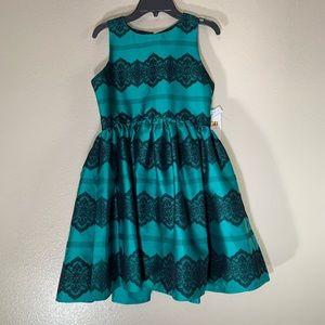 NWT GB Girls Green Black Velvet Sleeveless Dress